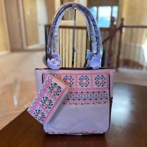 Montana west American bling embroidery tote+wallet